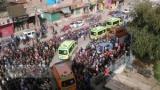 بالصور.. المئات يشيعون جثامين شهداء الوادي الجديد